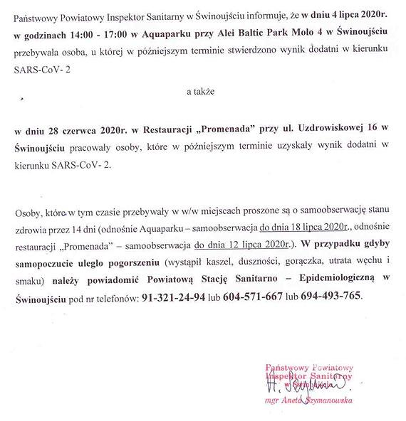 Państwowy Powiatowy Inspektor Sanitarny w Świnoujściu! Uwaga, ważny komunikat!