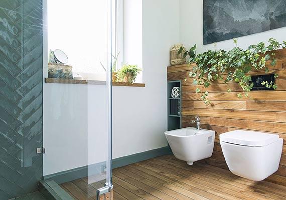 Drewno, kamień i zieleń, czyli łazienka inspirowana naturą