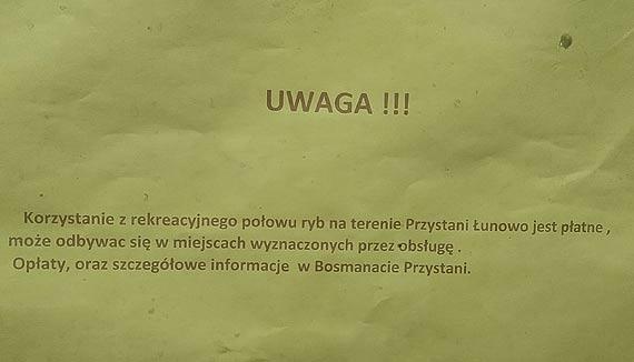 Marina w Łunowie - płacą tylko wędkarze