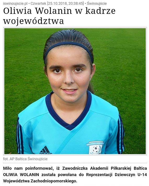 W piłkę gra lepiej od chłopaków. Oliwia Wolanin od 2 lat występuje w kadrze województwa