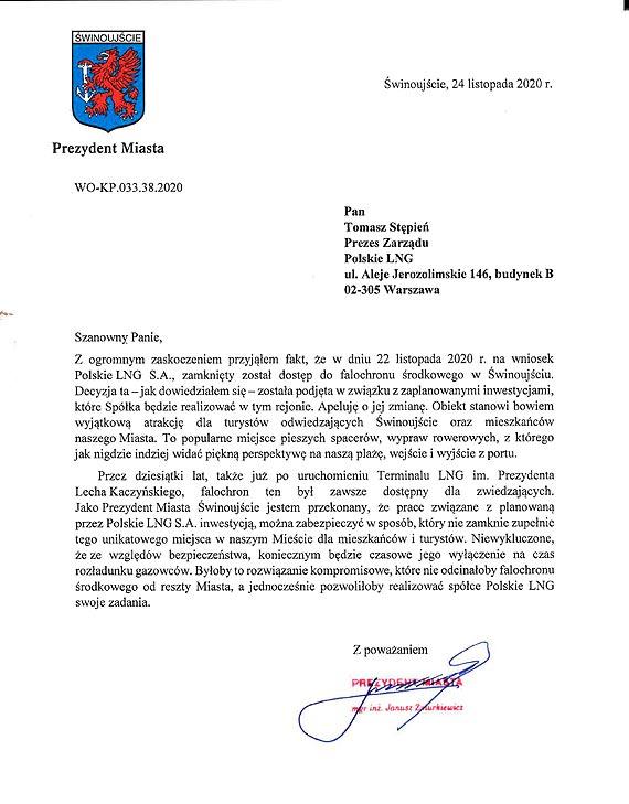 Apel Prezydenta Świnoujścia w sprawie falochronu