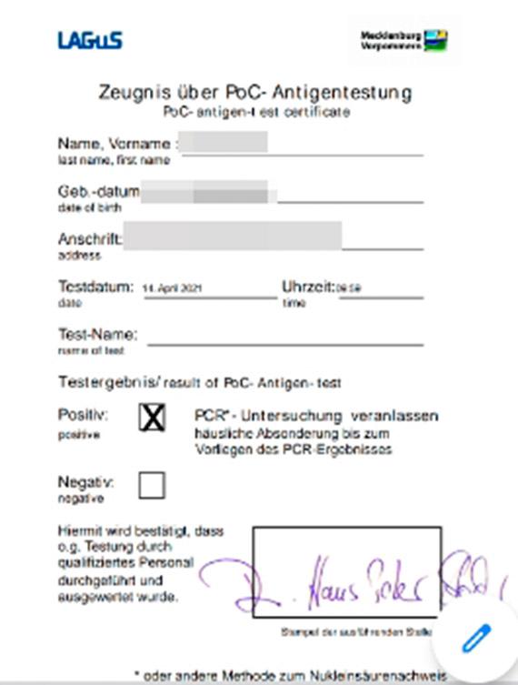 Mieszkaniec poddał się dwóm testom na COVID - 19: W Polsce jestem zdrowy, w Niemczech chory [1]