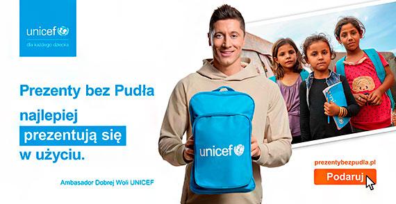 """""""Prezenty bez Pudła"""" najlepiej prezentują się w użyciu – Ambasador Dobrej Woli, Robert Lewandowski, wspiera program UNICEF Polska"""
