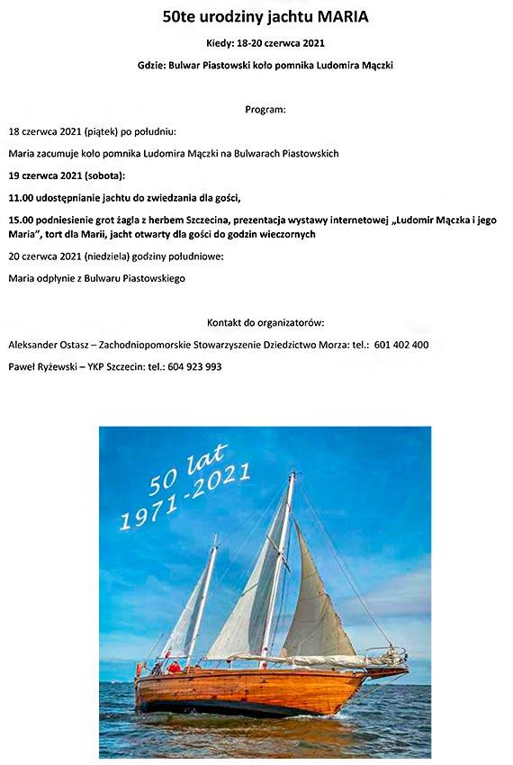 """Legendarny jacht """"Maria"""", odrestaurowany staraniem Zachodniopomorskiego Stowarzyszenia Dziedzictwo Morza można zwiedzać w Szczecinie"""