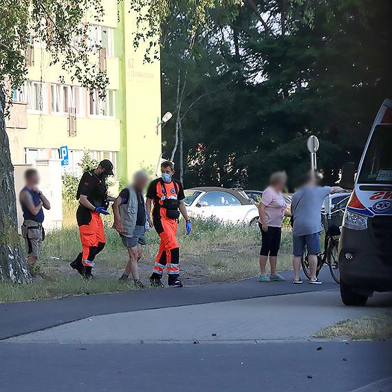 Poszkodowany rowerzysta i nastolatek