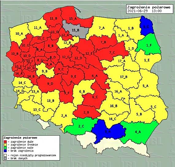 Wysokie i średnie zagrożenie pożarowe w lasach RDLP Szczecin